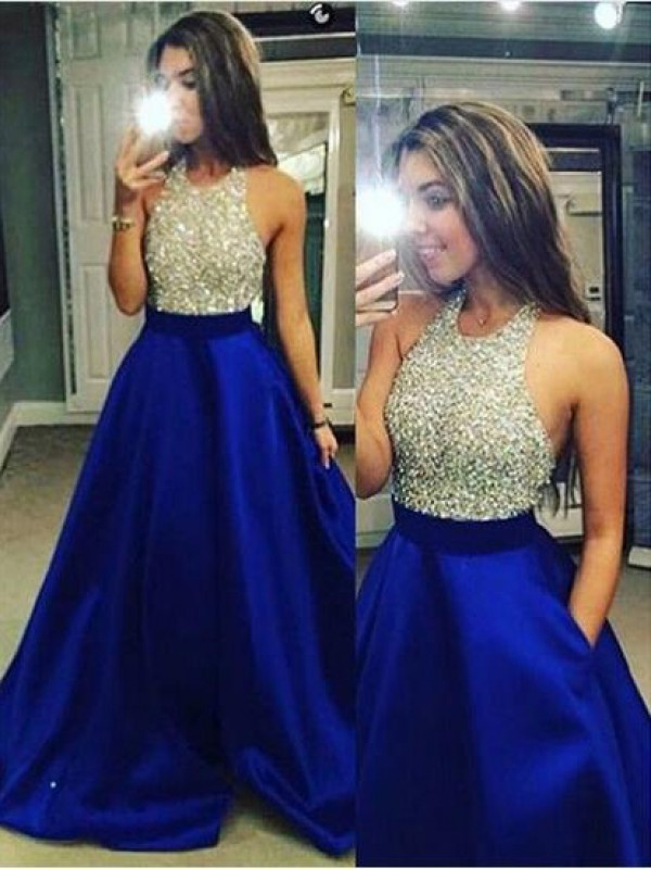 Ball Gown Satin Jewel Sleeveless Floor-Length With Crystal Dresses