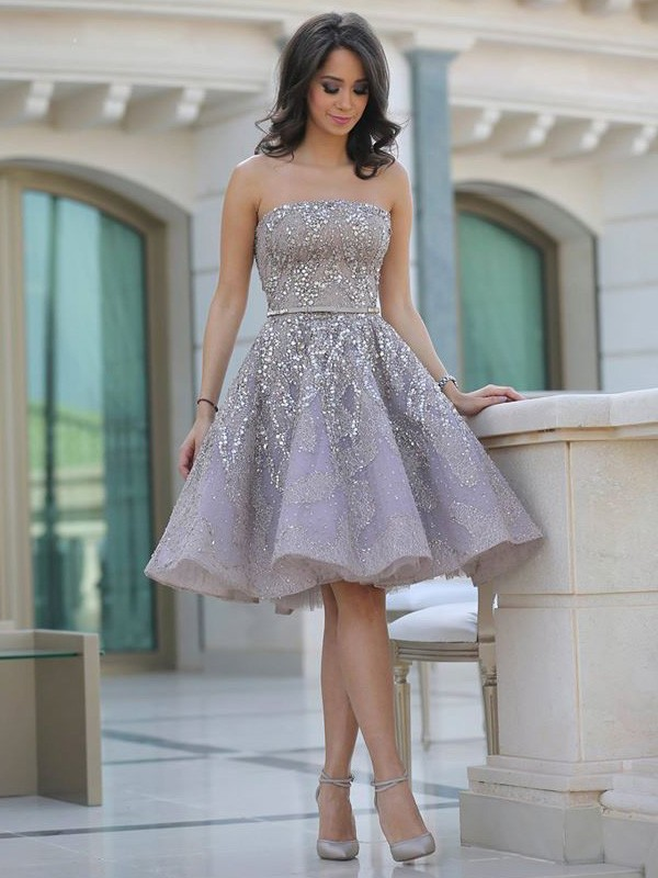 A-Line Satin Strapless Sleeveless Knee-Length With Sequin Dresses