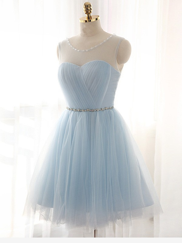 A-Line Tulle Scoop Sleeveless Short/Mini With Beading Dresses