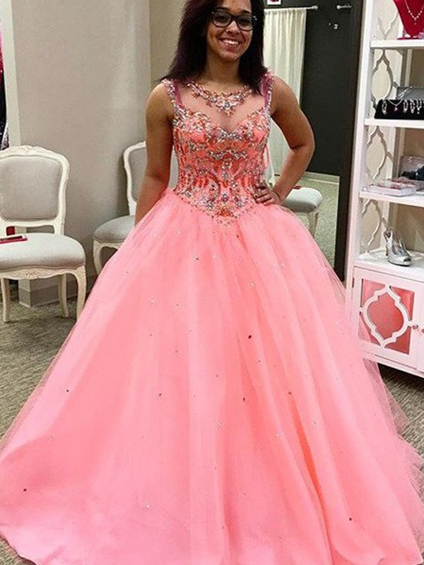 Ball Gown Tulle Sweetheart Sleeveless Floor-Length With Beading Dresses