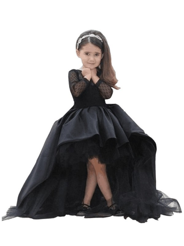 Ball Gown Satin Scoop Long Sleeves Floor-Length With Sash/Ribbon/Belt Flower Girl Dresses