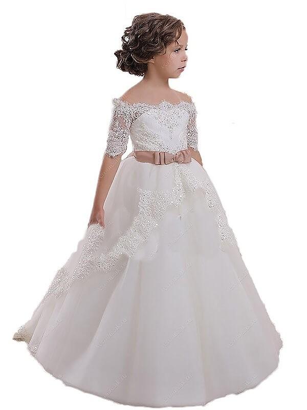 Ball Gown Tulle Off-the-Shoulder Short Sleeves Sweep/Brush Train With Sash/Ribbon/Belt Flower Girl Dresses