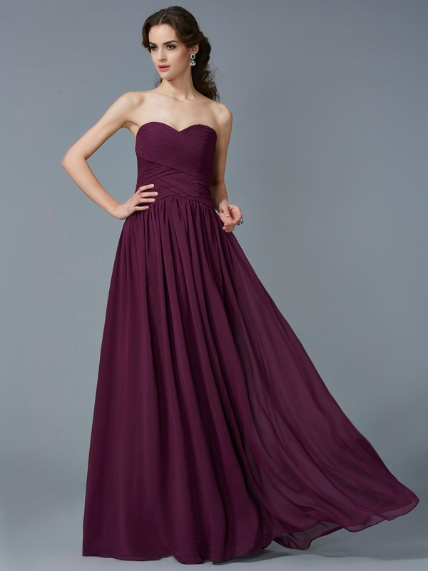 A-Line Chiffon Sweetheart Sleeveless Floor-Length With Pleats Dresses cd6e3b610