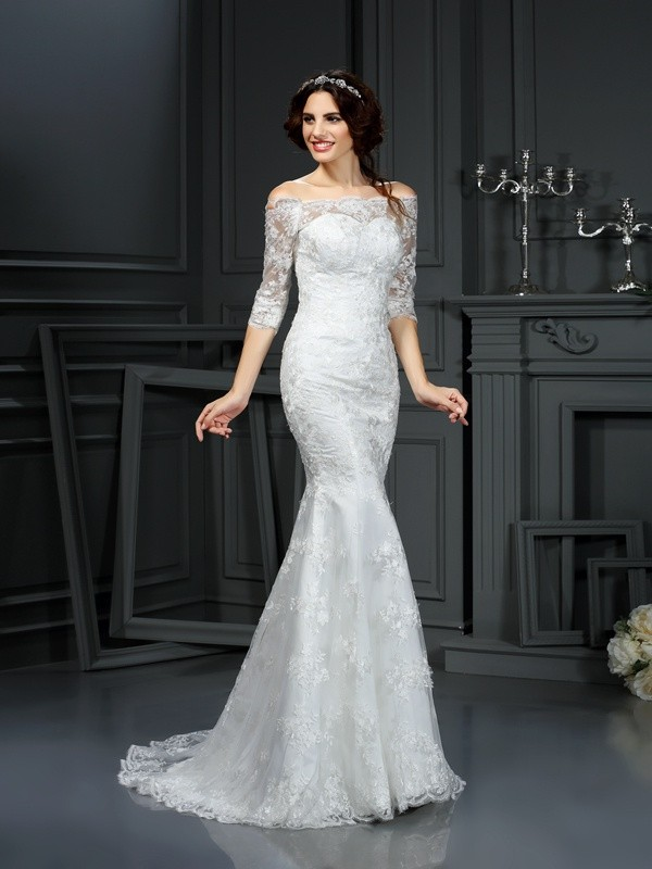 Lace Wedding Dress With Sleeves.Sheath Lace Off The Shoulder 1 2 Sleeves Sweep Brush Train With Lace Wedding Dresses