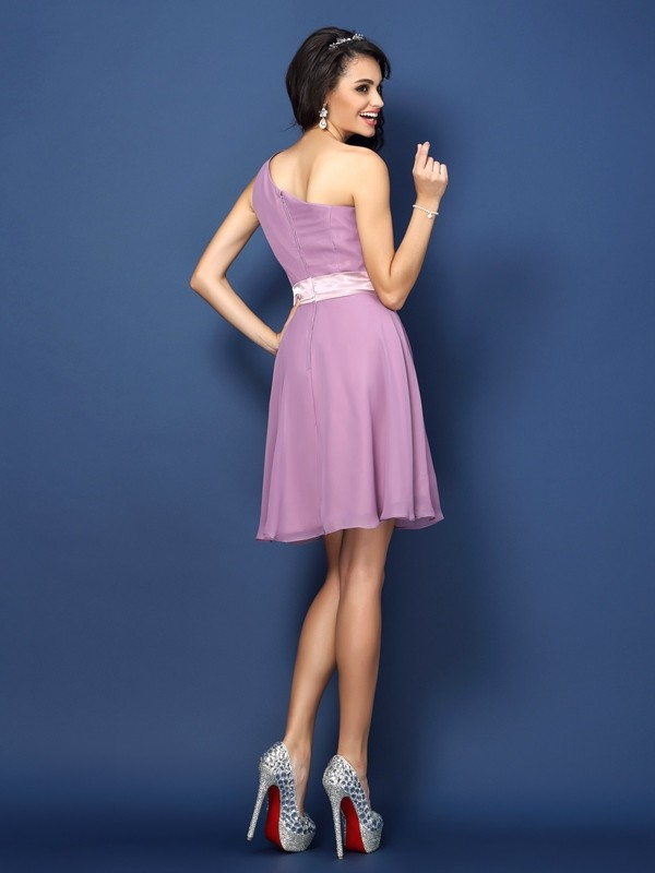 d9823f0a4d5 A-Line Chiffon One-Shoulder Sleeveless Short/Mini With Hand-Made Flower  Bridesmaid Dresses - Promlily Online