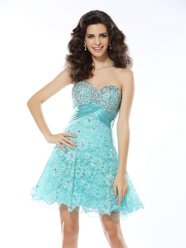 d24446e3276 A-Line Satin Sweetheart Sleeveless Short Mini With Ruffles Dresses ...