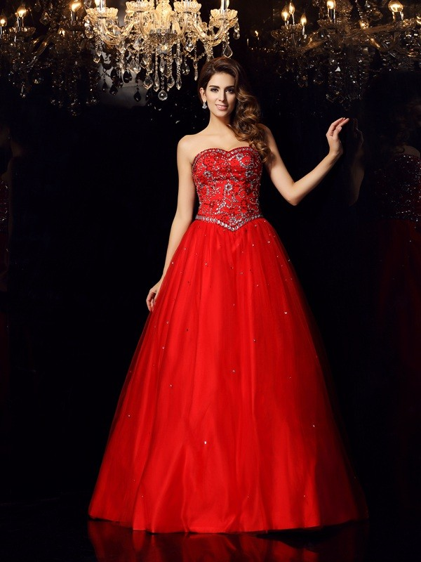 ef41291abd5 Ball Gown Satin Sweetheart Sleeveless Floor-Length With Beading Quinceanera  Dresses