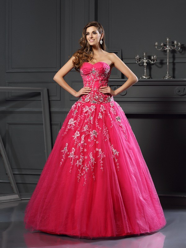 06c1f7178ecf Ball Gown Net Sweetheart Sleeveless Floor-Length With Applique Quinceanera  Dresses