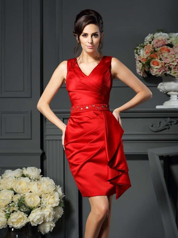 574e2fb2a78 Sheath Satin V-neck Sleeveless Knee-Length With Ruched Mother of the Bride  Dresses
