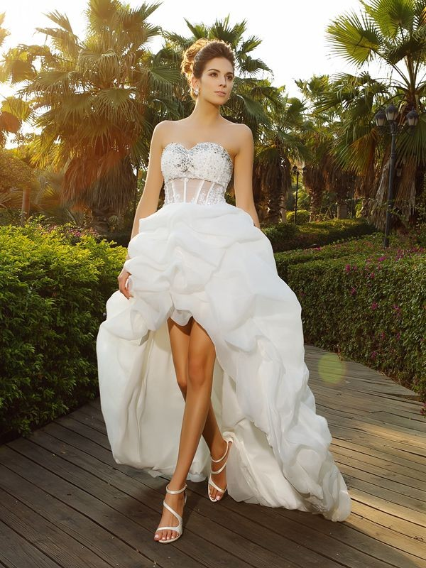 A Line Organza Sweetheart Sleeveless Asymmetrical With Beading Wedding Dresses