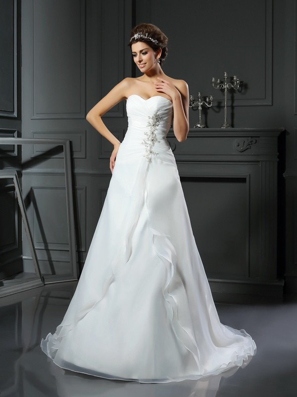 A-Line Satin Sweetheart Sleeveless Chapel Train With Ruched Wedding ...