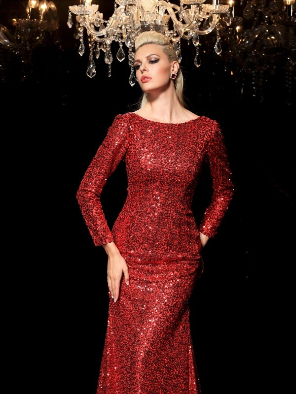 cbfba716cb Sheath Sequins Scoop Long Sleeves Sweep Brush Train With Sequin ...