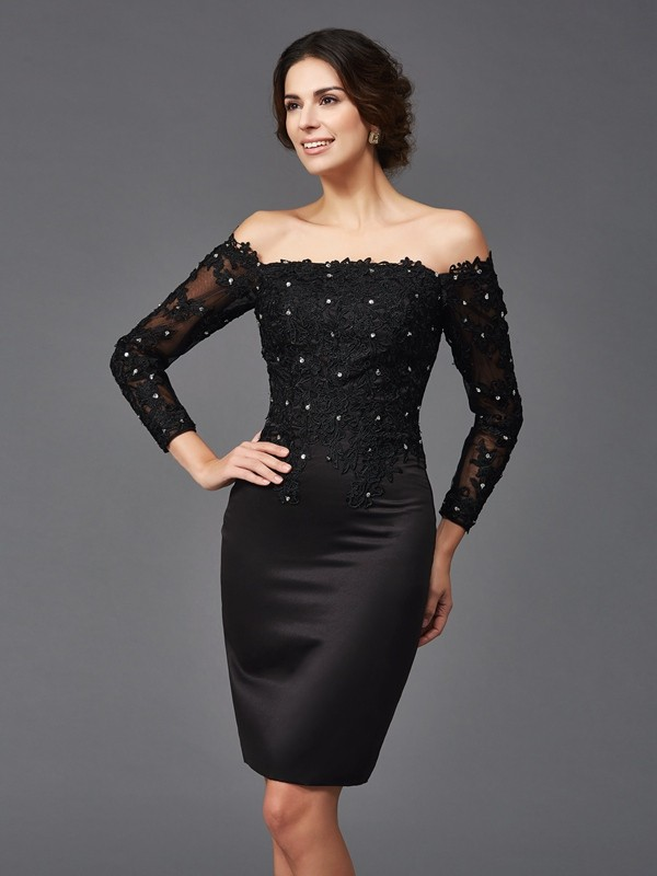Sheath Satin Off The Shoulder Long Sleeves Knee Length With Lace