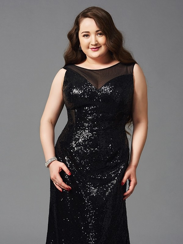 Sheath Sequins Scoop Sleeveless Floor-Length With Sequin Plus Size ...