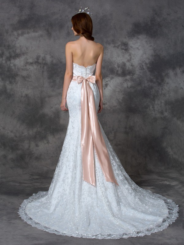 Mermaid Lace Strapless Sleeveless Court Train With Sash Ribbon Belt Wedding Dresses Promlily Online