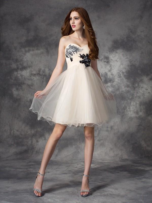 dfbd12741a A-Line Net Sweetheart Sleeveless Short Mini With Applique Dresses ...