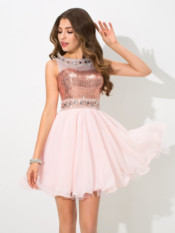 5df79a3081 A-Line Chiffon Sheer Neck Sleeveless Short Mini With Sequin Dresses ...