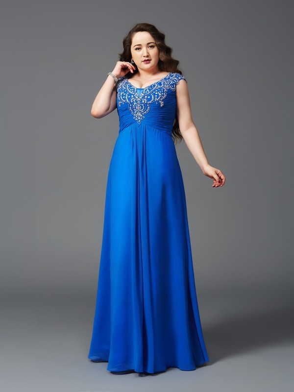 A-Line Chiffon Straps Short Sleeves Floor-Length With Beading Plus Size  Dresses