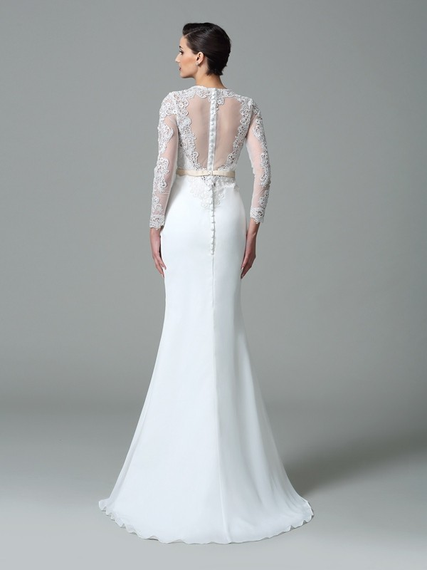 Mermaid Satin Jewel Long Sleeves Sweep Brush Train With Lace Wedding Dresses Promlily Online
