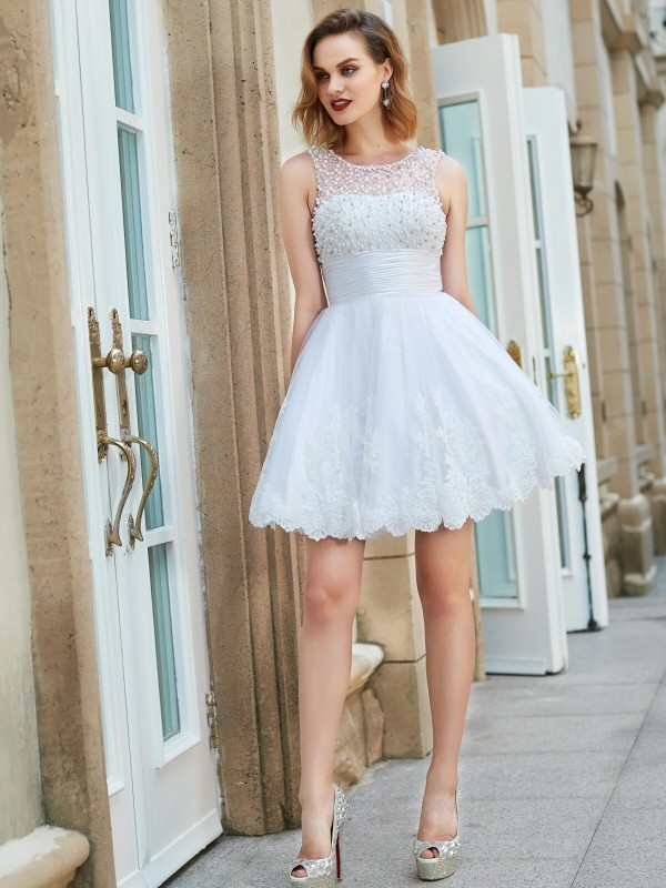 62a4872f62b A-Line Lace Jewel Sleeveless Short/Mini With Pearls Dresses - Promlily  Online