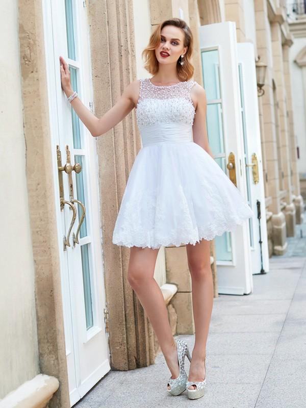 e8f3362c2a8 A-Line Lace Jewel Sleeveless Short/Mini With Pearls Dresses ...