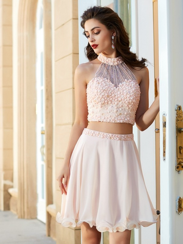Short Halter Chiffon Dress