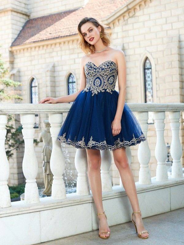 94901faedf A-Line Net Sweetheart Sleeveless Short Mini With Applique Dresses -  Promlily Online