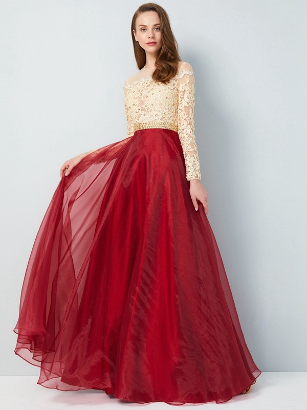5a6d39298325 A-Line Organza Sheer Neck Long Sleeves Floor-Length With Applique Dresses