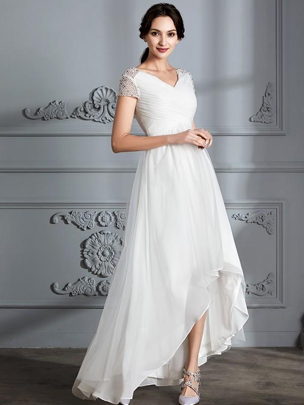 A-Line V-neck Short Sleeves Asymmetrical Tulle Wedding Dresses ...