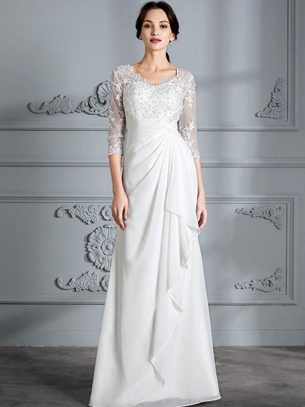 3ee914764e8739 Sheath Column V-neck 3 4 Sleeves Chiffon Floor-Length Wedding Dresses