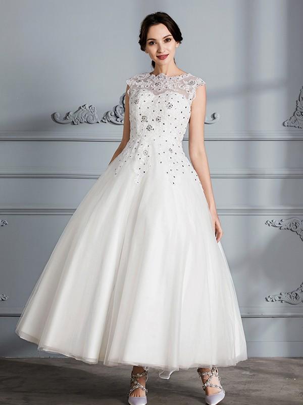 Ball Gown Scoop Sleeveless Tea-Length Tulle Wedding Dresses ...