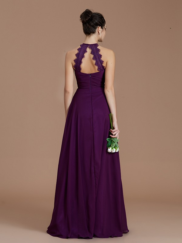 d364fc77581e A-Line Halter Sleeveless With Ruched Floor-Length Chiffon Bridesmaid Dresses  ...