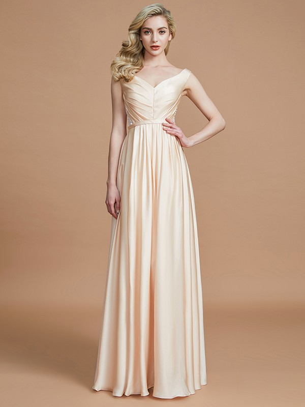 A-Line V-neck Sleeveless With Ruched Floor-Length Chiffon Bridesmaid ...