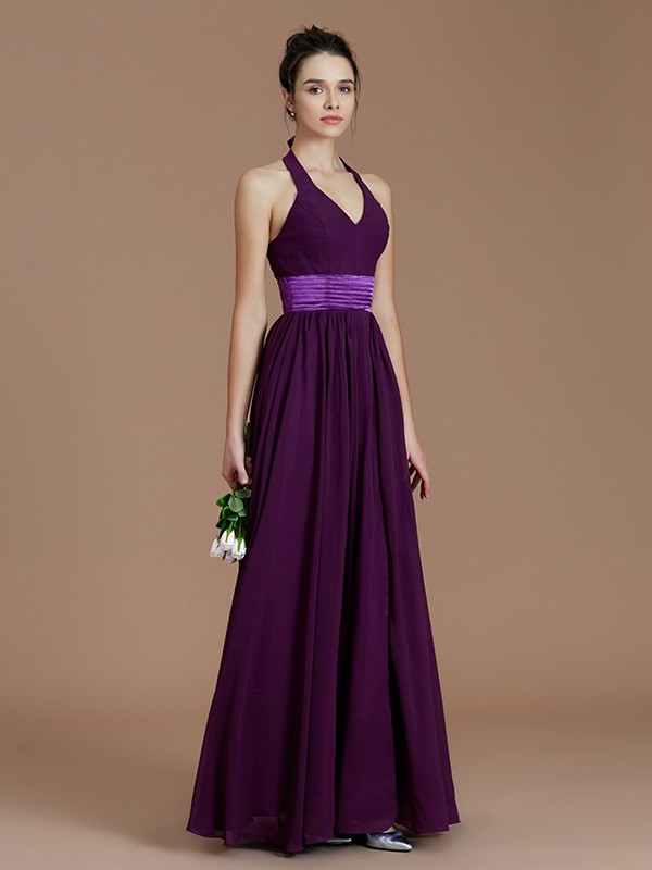 f1a6d7de042 A-Line Halter Sleeveless With Sash Ribbon Belt Floor-Length Chiffon  Bridesmaid