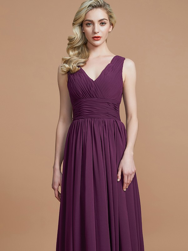 A-Line Sleeveless V-neck Floor-Length Chiffon Bridesmaid Dresses ...