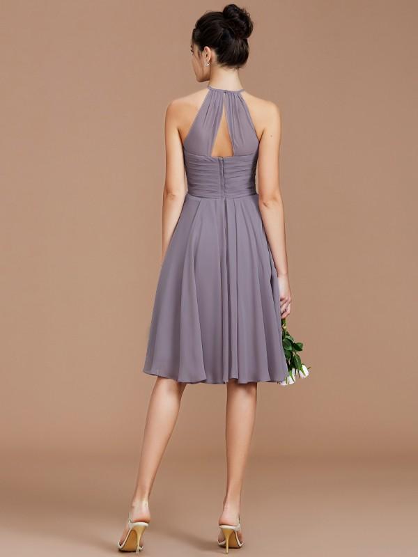 e7118dd967 A-Line Halter Sleeveless With Ruched Short Mini Chiffon Bridesmaid Dresses  ...