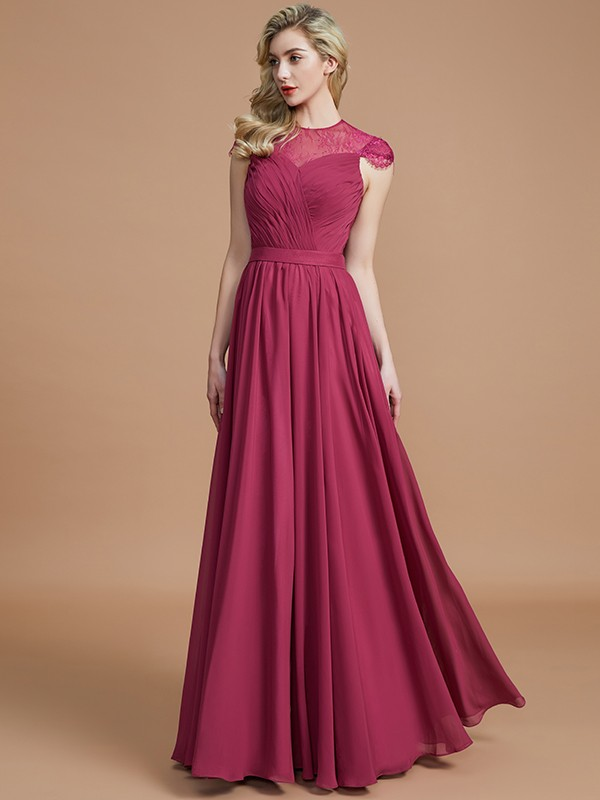 A-Line Scoop Short Sleeves Chiffon Floor-Length Bridesmaid Dresses ...
