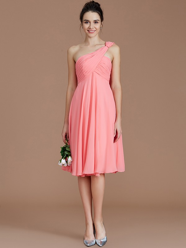 1104112469 ... A-Line One-Shoulder Sleeveless With Ruched Short Mini Chiffon  Bridesmaid Dresses ...