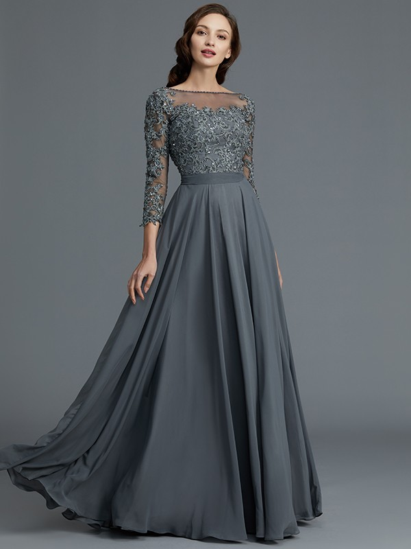 A-Line 3/4 Sleeves Bateau Floor-Length Chiffon Mother of the Bride ...