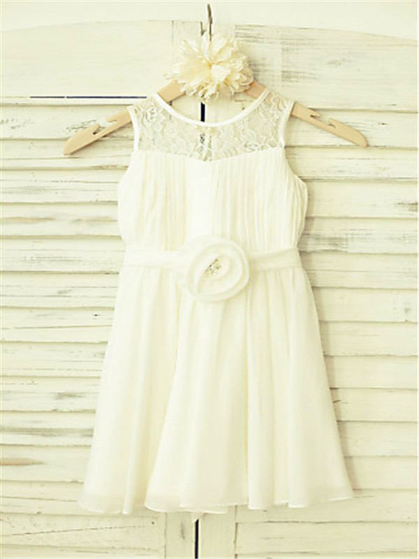 e873c444de1 A-line Princess Scoop Sleeveless Hand-made Flower Floor-Length Chiffon  Flower
