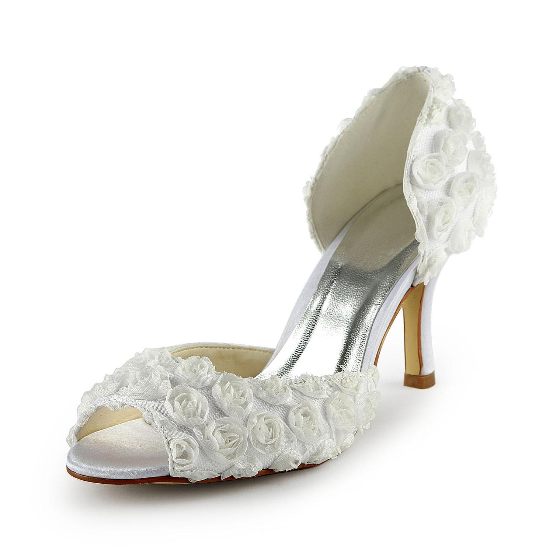 8e0843528e1eb9 Women s Gorgeous Satin Stiletto Heel Peep Toe With Flowers White Wedding  Shoes