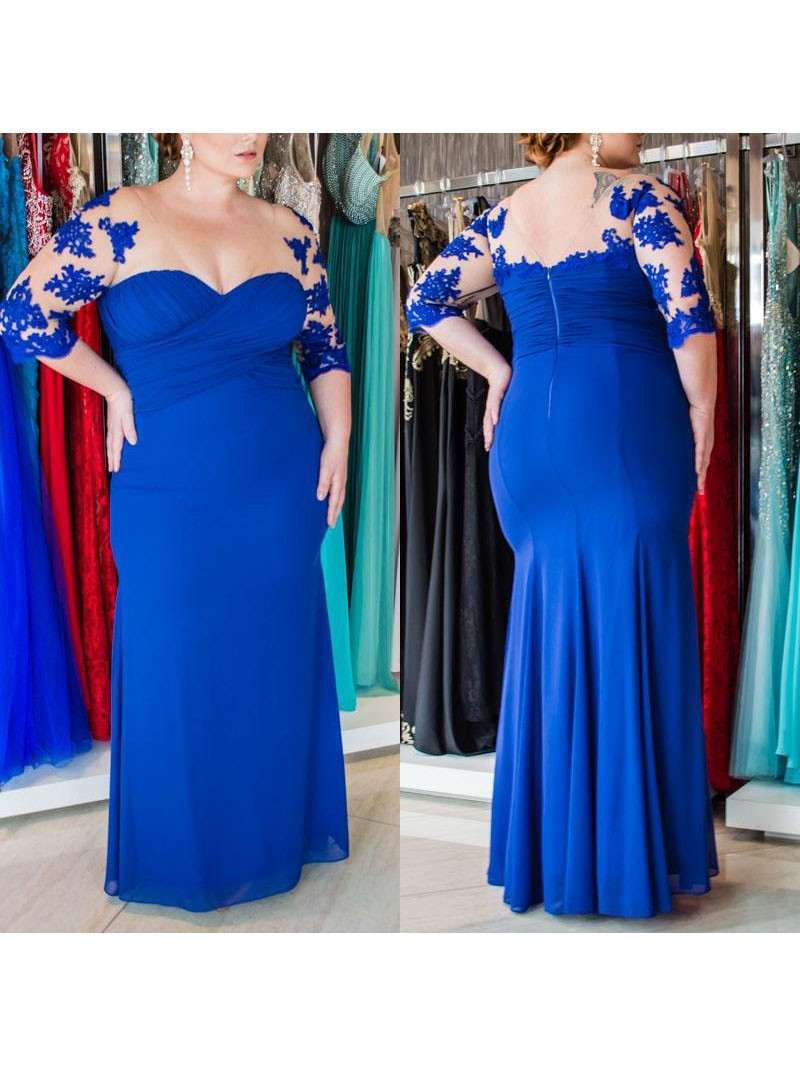 Sheath Sweetheart 1/2 Sleeves With Applique Floor-Length Chiffon Plus Size  Dresses