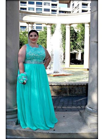 A-Line Scoop Sleeveless With Applique Floor-Length Chiffon Plus Size Dresses