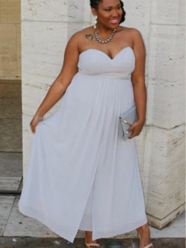 A-Line Sweetheart Sleeveless With Ruched Ankle-Length Chiffon Plus Size  Dresses