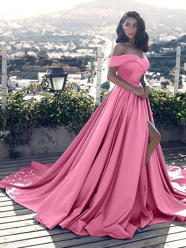 ab5cb69cbe6 A-Line Sleeveless Off-the-Shoulder With Ruffles Satin Court Train Dresses