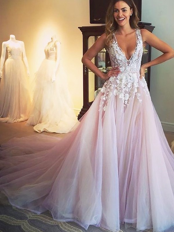 27d471a82a A-Line V-neck Sweep Brush Train Tulle Sleeveless With Applique Dresses