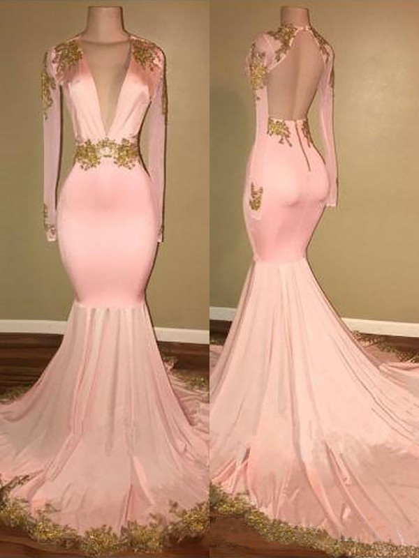 a246b90a3738d Mermaid V-neck Sweep/Brush Train Long Sleeves Silk like Satin With Applique  Dresses