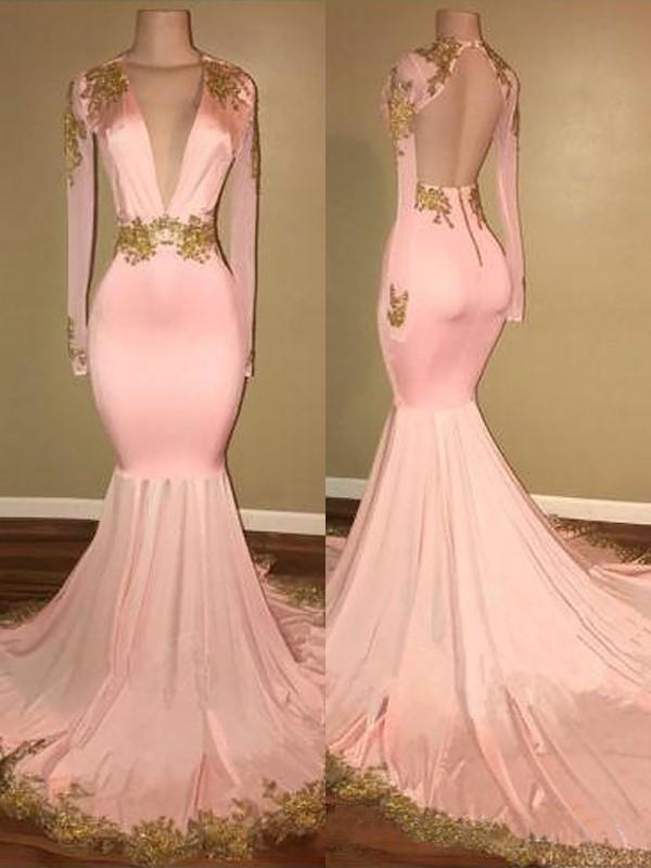 5096687ee3c Mermaid V-neck Sweep Brush Train Long Sleeves Silk like Satin With Applique  Dresses