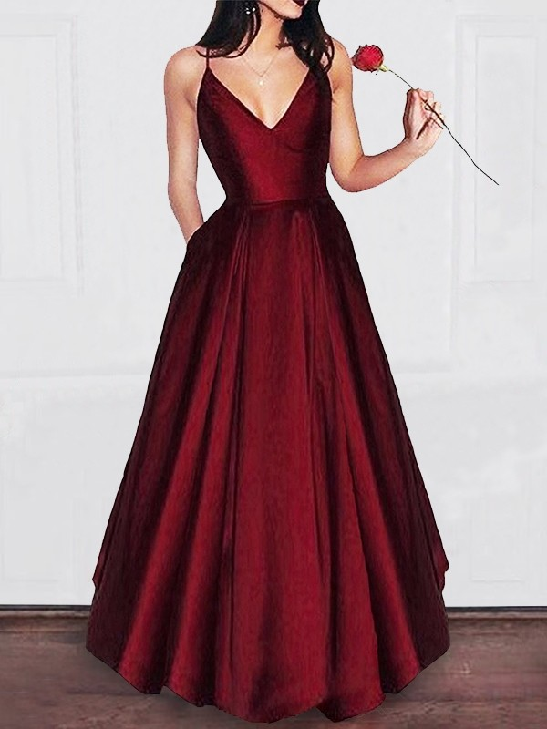 A Line V Neck Floor Length Satin Sleeveless With Ruffles Dresses