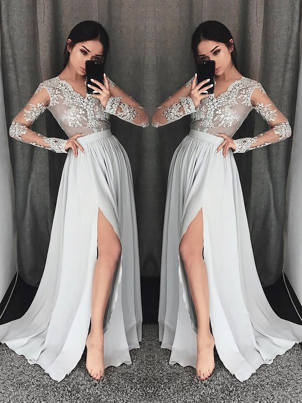 f516baccbb A-Line V-neck Long Sleeves Sweep Brush Train With Lace Chiffon Dresses